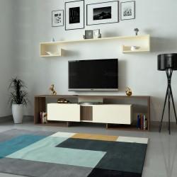 طاولة تلفزيون SHTV34 ابيض ورمادي اوبيج وبني