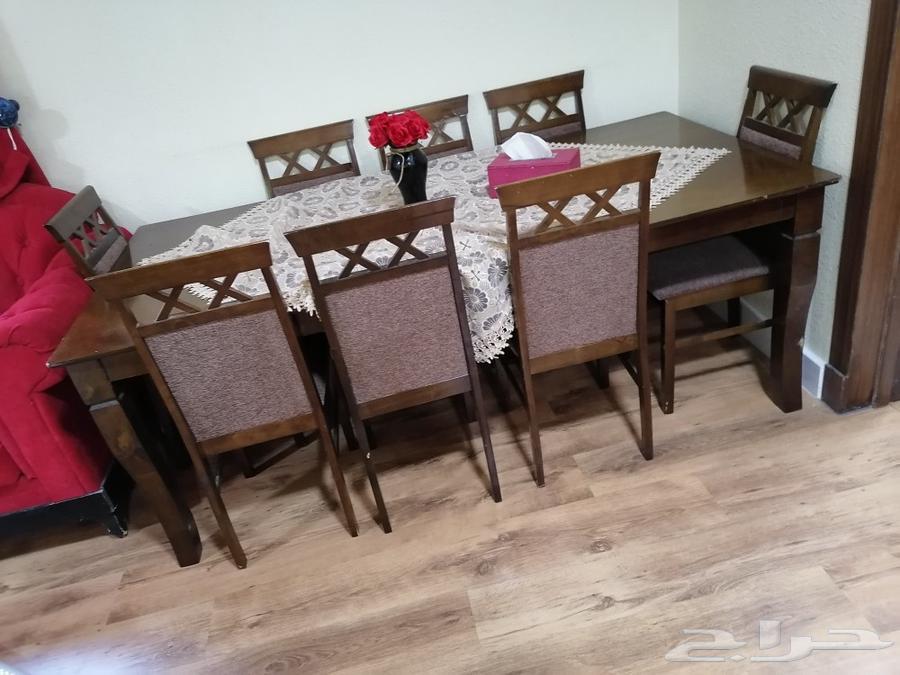 طاولة طعام خشب 8 اشخاص مع الكراسي