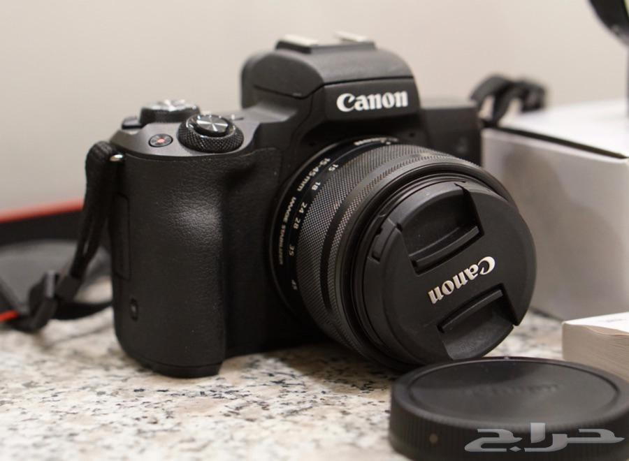 كاميرا canon M50 اخت الجديدة مع محول عدسات  وعدسة اضافية