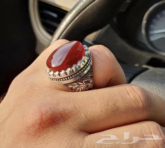 خاتم عقيق كبدي يماني ملكي