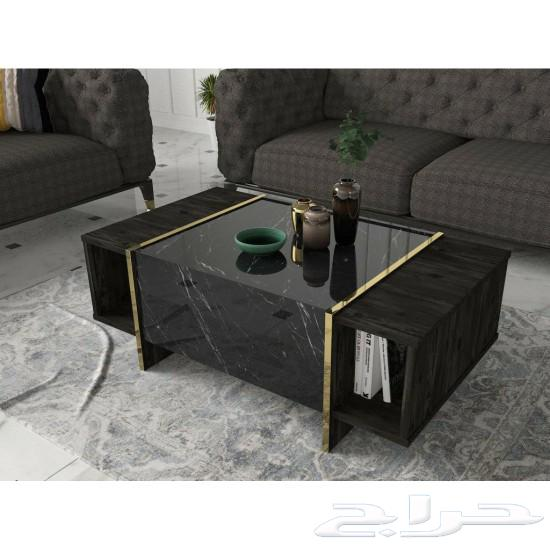 طقم Veyron طاوله تلفاز وقهوة ومدخل أسود